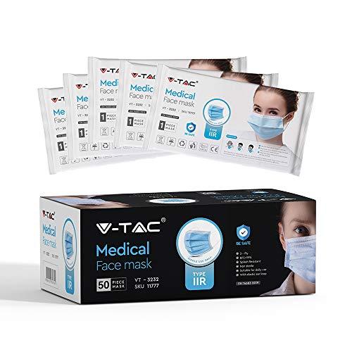 V-TAC Typ IIR Medizinisch-chirurgische Gesichtsmasken mit Ohrschlaufe Einweg, Vliesstoff, 3-lagig, spritzwasserfest 50 Stück pro Schachtel (einzeln verpackt)