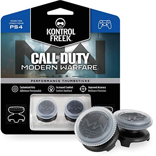 KontrolFreek Call of Duty: Modern Warfare - A.D.S. Performance Thumbsticks für PlayStation 4 (PS4) | 2 x Hoch, Konkav | Transparent/Schwarz