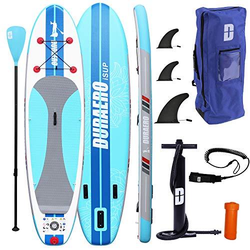 DOEWORKS Stand Up Paddling Board Aufblasbarer, Sport Alu-Paddel Verstellbar, Hochdruck-Pumpe mit Manometer, Rucksack, bis 110kg, 305x76x15cm