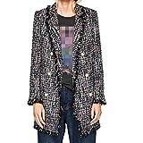 N\A Gris Mujeres Tweed Lana Perla Botones Chaqueta Abrigo Outwear