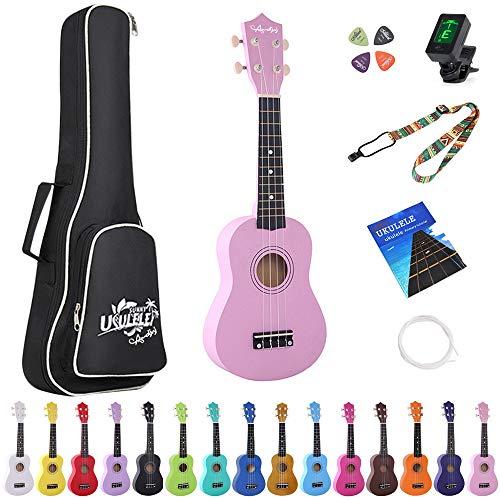 Amdini 21 Pulgadas Soprano Ukelele Tilo Mini Guitarra Acústica para Niños Principiantes con Correa de Caja Sintonizador Púas Cuerdas Tutorial Principal