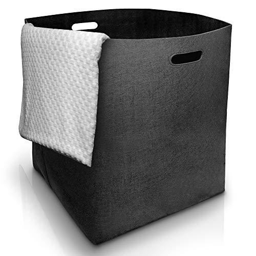 Fit Guru Faltbarer Wäschekorb - Edler Wäschesammler aus hochwertigem Filz - Große und universell einsetzbare Wäschetonne 125 Liter - Wäschebox Schwarz