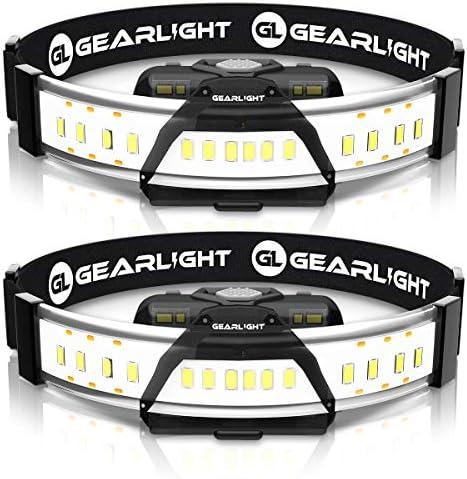 GearLight 180 Broad Beam LED Headlamp Flashlight F300 2 Pack Wide Angle HeadLight Headlamps product image