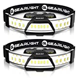 GearLight 180 Broad Beam LED Headlamp Flashlight F300 [2 Pack] - Wide Angle HeadLight/Headlamps for Running, Camping and Close Up Work - Perfect Head Lamp for Adults
