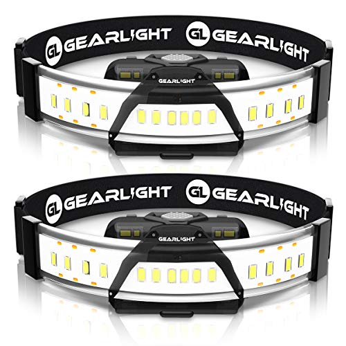 GearLight 180° Broad Beam LED Headlamp Flashlight F300 [2 Pack] - Wide Angle HeadLight/Headlamps for Running, Camping and Close Up Work - Perfect Head Lamp for Adults