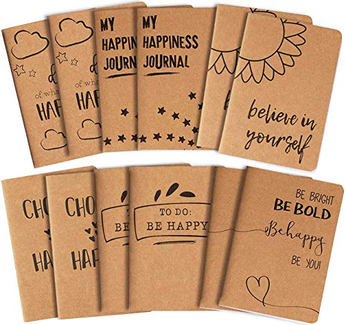 Kraft Paper Notebook, Happy Journal (4 x 5.75 in., 12 Pack)
