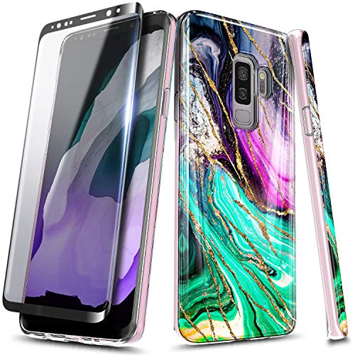 E-Began Marble Series Case for Samsung Galaxy S9 Plus with Soft Screen Protector (3D Curved Full Coverage), Ultra Slim Thin Glossy Stylish, Gold Glitter, Soft TPU Rubber Gel Phone Case Cover -Cosmo