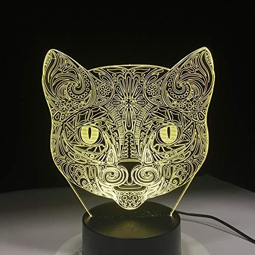jiushixw 3D acryl nachtlampje met afstandsbediening van kleur veranderende lamp Cool dier stereo kat kind slaapkamer stemming baby kat gezicht mozaïek tafellamp zwart camping