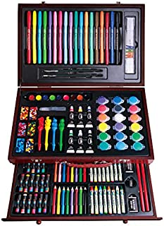 123 Pieces Deluxe Complete Art Kit Art Box Set Painting Drawing Sketching Stylish Wooden Storage Case