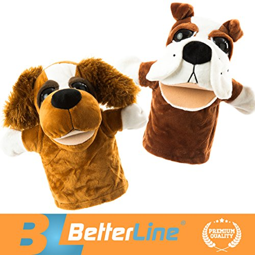 Animal Hand Puppets Set of 2 by BetterLine - Premium Quality, 9.5 Inches Soft Plush Hand Puppets for Kids- Perfect for Storytelling, Teaching, Preschool, Role-Play Toy Puppets (2 Dogs)