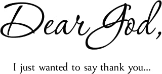 ZSSZ Dear God I Just Wanted to Say Thank You Vinyl Wall Decal Regilious Wall Sayings Christian Quotes Lettering Wall Stickers Home Décor