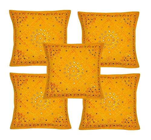 Indischer ethnischer handgefertigter Kissenbezug mit Stickerei und Spiegelarbeiten, 43 x 43 cm (gelb)