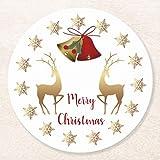 Posavasos para bebidas, base de corcho, copos de nieve dorados, renos, campanas, juego de 4 posavasos redondos de Navidad, para el hogar y la cocina, divertido regalo para el hogar, regalos de Navidad