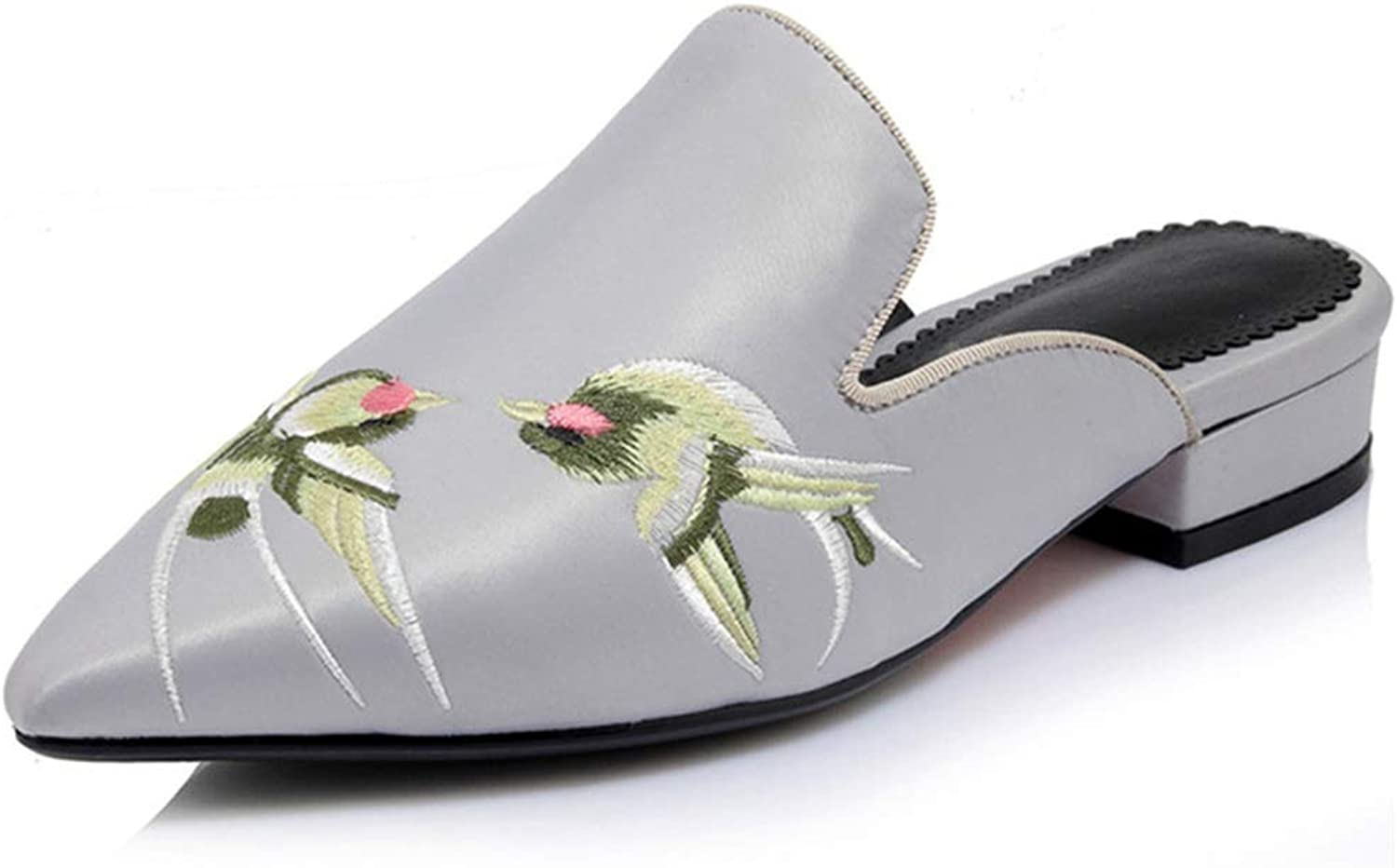 Evening mist Lady Slippers Silk Embroidery Fashion shoes Pointed Toe Mules shoes