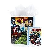 Hallmark Large Avengers Birthday Card and Tissue Gift Bag, Super Hero