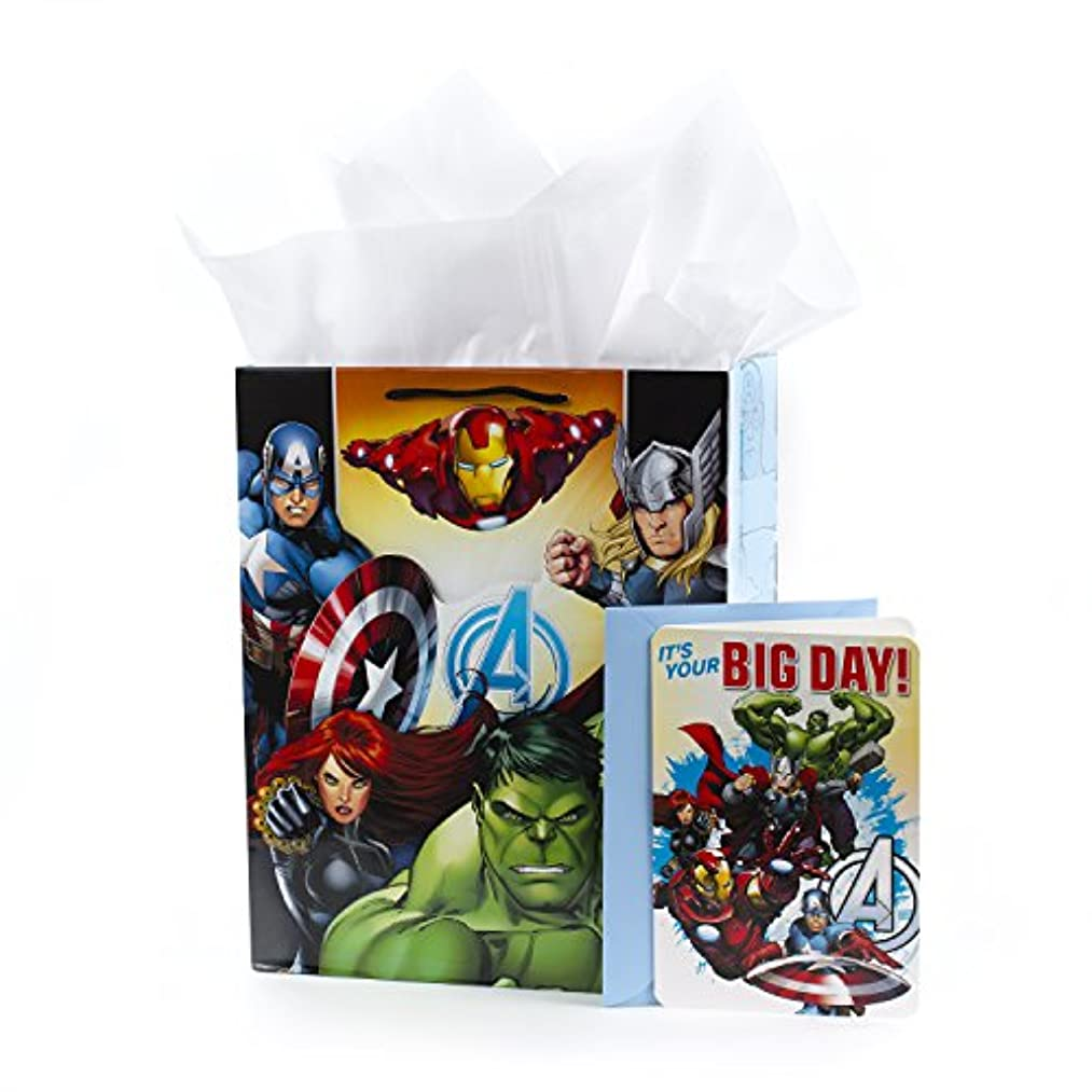 Hallmark Large Avengers Gift Bag with Birthday Card and Tissue Paper (Action-Packed Birthday)