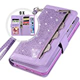 Bling Wallet Case for Women,Auker Trifold 9 Card Holder Folio Flip Glitter Leather Folding Stand Magnetic Wallet Sparkly Purse Case with Strap&Zipper Coin Change Money Pocket for iPhone 7/8 (Purple)