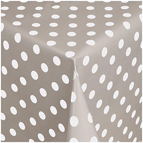 TEXMAXX Wachstuchtischdecke Wachstischdecke Wachstuch Tischdecke abwaschbar (150-07) - 180 x 140 cm - PVC Tischdecke abwischbar, Punkte Muster in Taupe-Weiss