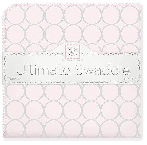 SwaddleDesigns Ultimate Couverture Emmailotage, Flanelle de Coton de première qualité, Mod Circles Gris Argentés sur Rose Clair