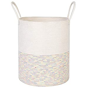 ANTJUMPER Extra Large Cotton Rope Laundry Basket Woven Storage Basket with Handles for Towels Blankets Pillows Baby Toys Storage- Decorative Nursery Storage Basket – Colored Stitches 19.7″x15.8″