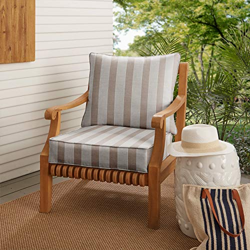 Unknown1 Range Indoor/Outdoor Chair Cushion Set (Set of 2) Tan Striped Transitional Synthetic Fade Resistant Zippered Closure
