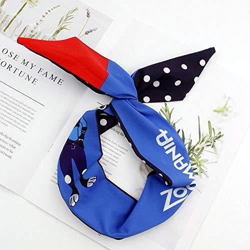 Bande De Cheveux Nouveau Bandeau Élastique Pour Dames En Croix Avec Impression De Tissu, C012-Lapin Bleu Marine