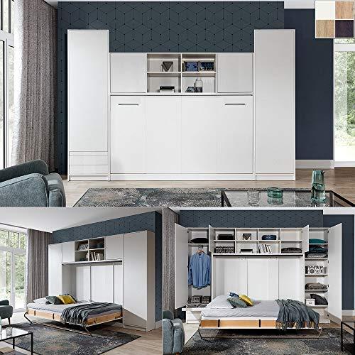 QMM Traum Moebel Schrankbett Wandbett Wandklappbett horizontal HB 90x200 mit 2 Schränken & Aufsatz weiß, Eiche Sonoma, Nebraska, Schokolade Schlafzimmer neu