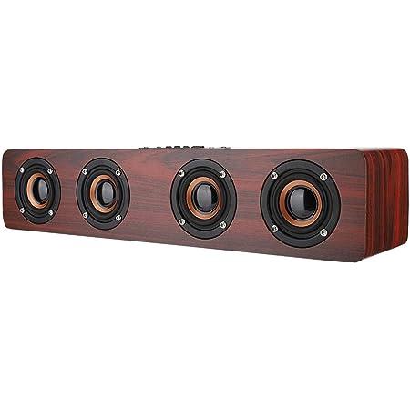 AUX 12W TV Computer Speaker Sound Bar with 4 Bass Subwoofer Support Bluetooth FM #1 TF card Wooden Bluetooth Speaker