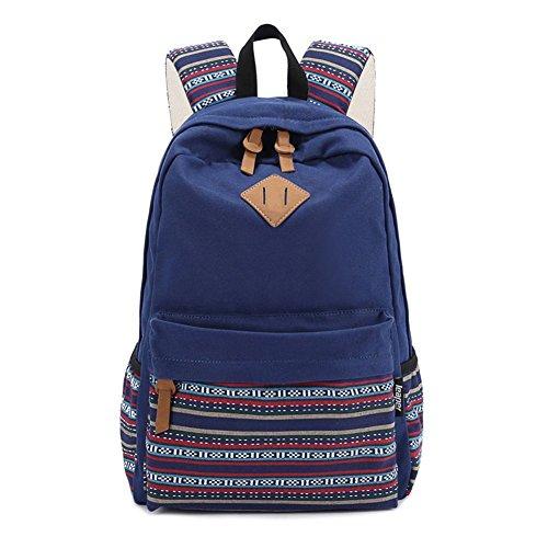 S-ZONE Damen Rucksack Vintage Aztec Tribal Unisex Canvas Schultasche mit 14-15 Inch Laptopfach für Outdoor Camping Picknick Ausflug Sport Uni