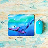 HGOD DESIGNS Whale Gaming Mouse Pad,Watercolor Human and Whale Diving Swimming Underwater Together Mousepad Rectangle Non-Slip Rubber Mouse Pads(7.9'X9.5')