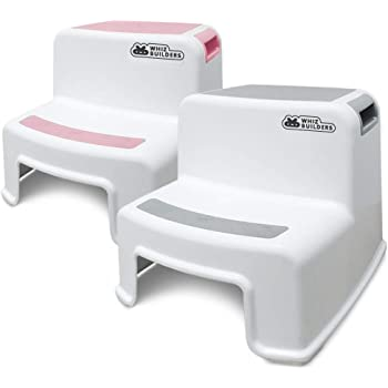 2 Step Stool for Kids and Toddler – Stepping Bathroom Potty Training Stool – Dual Height Plastic stools for Children/Child Safety – Slip/Skid Resistant Steady Grip for Toilet, Kitchen, Bed