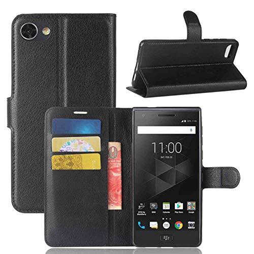 Sangrl Leder Lederhülle Schutzhülle Für BlackBerry Motion, Wallet Tasche Für BlackBerry Motion, mit Halterungsfunktion Kartenfächer Flip Hülle Schwarz