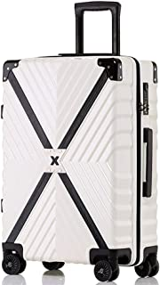 SMLCTY 4 Wheel Suitcase,cabin Case,ABS+PC Waterproof and Wearable Luggage Mute Universal Wheel Password Lock Boarding Chassis (Color : White, Size : 29 inch)