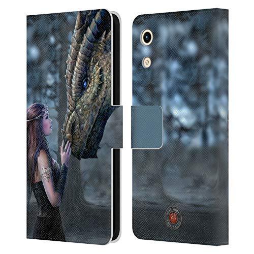 Head Hülle Designs Offizielle Anne Stokes Once Upon A Time Drachen Freudenschaft Leder Brieftaschen Handyhülle Hülle Huelle kompatibel mit Huawei Honor Play 8A