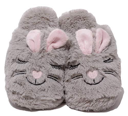 Zapato Damen Plüschhausschuhe Plüsch Puschen Schuhe Slipper lustige Tierhausschuhe Hase Bunny Gr. 37 – 41 grau rosa (37 EU)