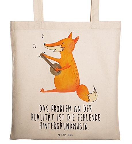 Mr. & Mrs. Panda Shopper, Baumwolltasche, Tragetasche Fuchs Gitarre mit Spruch - Farbe