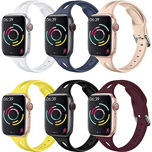 Vecann Correa Compatible con Apple Watch Correa 38 mm 42 mm 40 mm 44 mm, Correa De Repuesto Deportiva Delgada De Silicona Suave con Cierre Clásico Compatible con iWatch Se Series 6 5 4 3 2 1