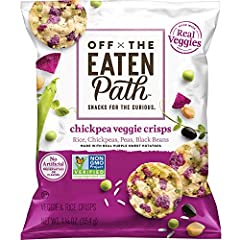 Includes 16 (1.25oz) bags of Off The Eaten Path Chickpea Veggie Crisps made with real purple sweet potatoes Chickpea Veggie Crisps: a mosaic of real veggies like chickpeas, peas and purple sweet potato you can see right in the crisp! Non-GMO Project ...
