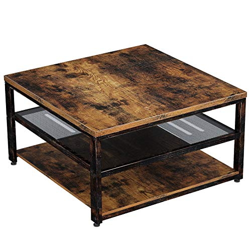 """Rolanstar Industrial Coffee Table with Storage Shelves 3-Tier Square Cocktail Table for Living Room, Retro Wood Sofa Table with Metal Frame, 31.5"""" Rustic Brown"""