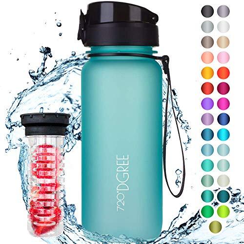 """720°DGREE Trinkflasche """"uberBottle"""" softTouch +Früchtebehälter - 650ml - BPA-Frei - Auslaufsichere Wasserflasche für Kinder, Schule, Uni, Sport, Fitness - Tritan Sportflasche - Leicht & Bruchsicher"""