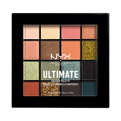 NYX Professional Makeup Lidschattenpalette, Ultimate Shadow Palette, Vegane Formel, Gepresster Puder Lidschatten, 16 Farbtöne, Matt, Satiniert, Metallic, Farbton: Ultimate Utopia
