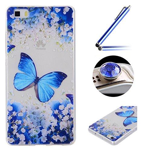 Huawei P8 TPU Coque étui,Huawei P8 Ultra-minces Silicone Doux Housse,Etsue Joli élégant Papillon Peint Motif Design Souple Gel avec Transparent Cadre de Housse Coque Coquille pour Huawei P8 + 1x Bleu style + 1x Bling poussière plug (couleurs aléatoires) - élégant Papillon