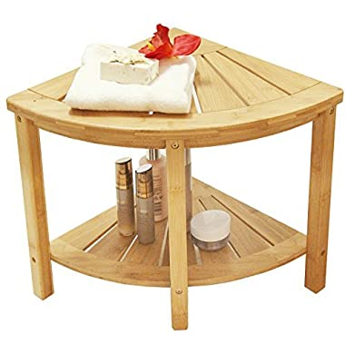 Corner Shower Bench with 2-Tier Storage Shelf,Deluxe Bamboo Shower Bench Bath Stool Applicable to Bathroom Or Living Room Natural and Eco-Friendly,by Artmeer