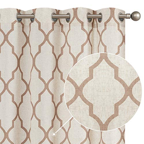 "jinchan Moroccan Tile Print Curtains for Living Room Quatrefoil Flax Linen Blend Textured Geometry Lattice Grommet Window Treatment Set for Bedroom 50"" W x 108"" L 2 Panels Taupe"