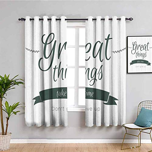 "Quotes Decor Cortinas opacas para ventana, con texto en inglés ""Great Thing Time DonT Give Up Lifestyle Reduce la luz W42 x L63"""