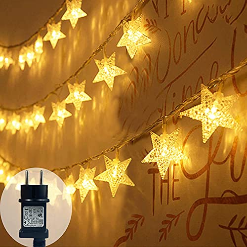 Star String Lights, 100 LED Plug in String Lights 33 feet 8 Modes Star Fairy Lights Waterproof Twinkle String Lights for Wedding Party Christmas Tree Garden Indoor Outdoor Decor (Warm White)