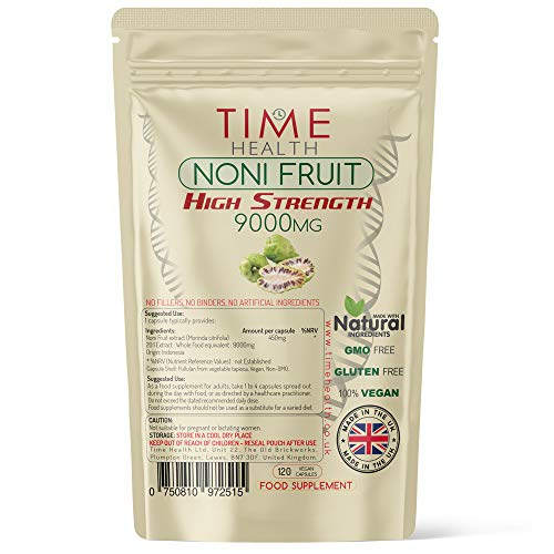 Noni Fruit Extract 9000mg | 120 Capsules | Super High Strength | No Fillers, Binders or Additives | 100% Vegan | UK Manufactured | Pullulan