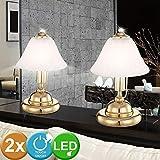 Set di 2 luci da comodino in ottone a LED Lampade da lettura per uso domestico in camera da letto residenziale Ottica in vetro alabastro