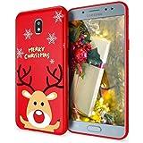 ZhuoFan Funda para Samsung Galaxy J3 2017, Cárcasa Silicona Rojo 3D con Dibujos Navidad Diseño Suave Gel TPU Antigolpes de Protector Case Fundas para Movil Samsung Galaxy J3 2017, Alce