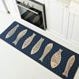 Wolala Home Natural Rubber Non-Slip Kitchen Rug and Carpet Cute Fish Comfortable Resist Fatigue Laundry Room Area Rugs Bedside Rug Runner Doormat (18''x47'', Fish)